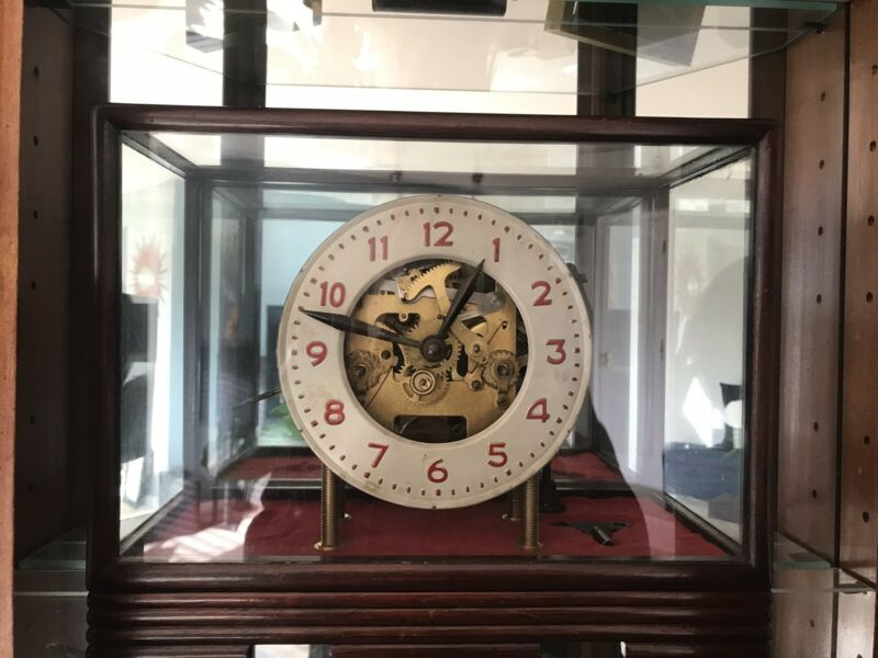 Antique 15 Day Skeleton Clock In Glass/Wood Showcase. Keeps Perfect Time!