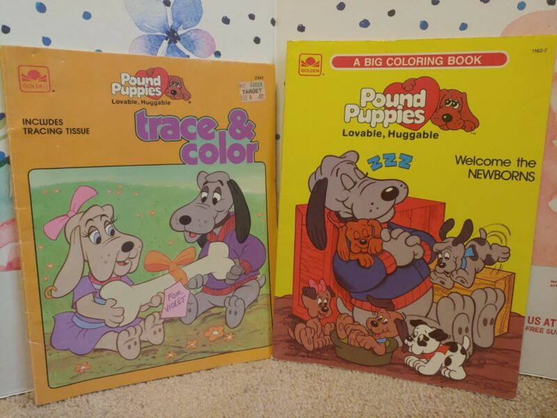 Vintage 1986 Lot of Two Pound Puppies Coloring Books Golden A Big Coloring Book