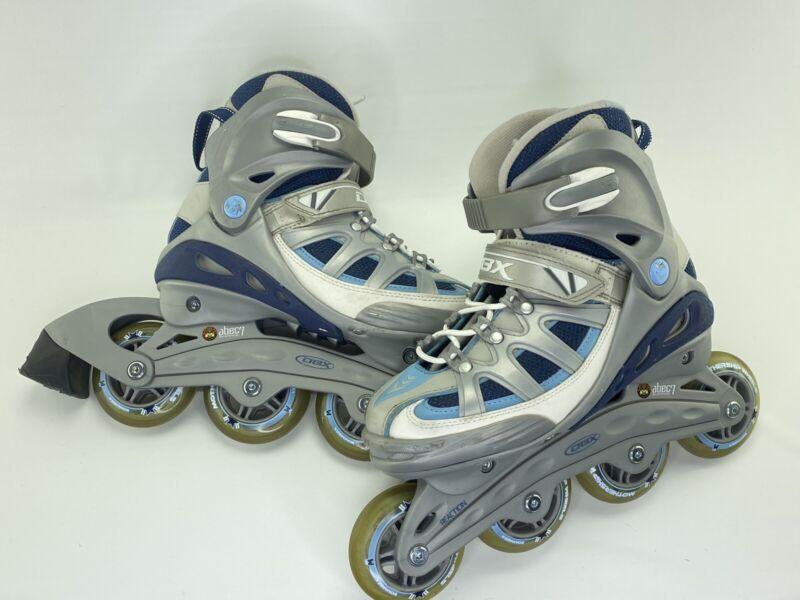 DBX Rollerblades Reaction Women's Size 6 Inline Skates Blue Grey White 80mm
