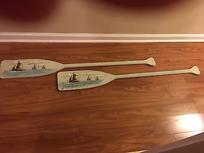 Weathered Painted  Nautical Wood Oar Rustic Wall Decor Beach Cottage  Set 0f 2