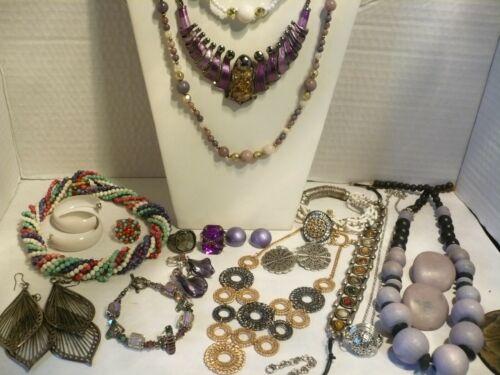LOT #8 BOHO Style Jewelry Purple White Etc.Artsy Enamel Necklace Sets Wood Etc.