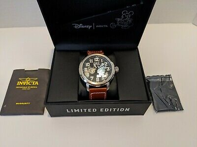 "Invicta ""Mickey Mouse"" MOP Black/Silver Limited Edition Automatic Mens Watch"