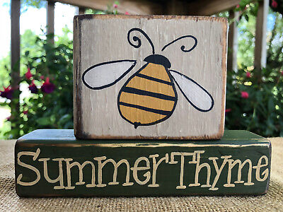 Primitive Country Bumble Bee Summer Thyme Home Decor Shelf Sitter Block Set