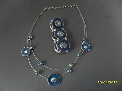 parure collier et bracelet métal et bleu