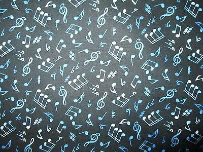 CRAZY MUSIC NOTES BLUE WHITE ON BLACK BACKGROUND COTTON FABRIC BTHY