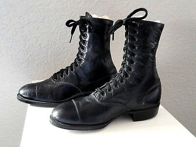 Vintage Youth High Top Lace Up Black Shoes