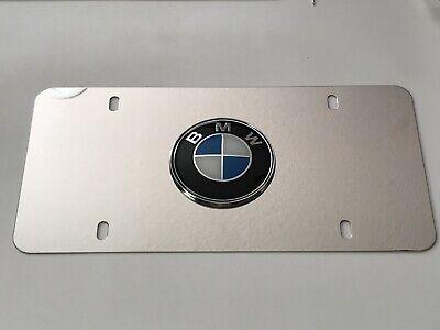 BMW 3D Chrome Logo On Chrome License Plate with 4x Chrome caps