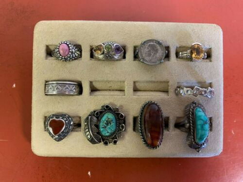 Set Of (10) Sterling Silver Rings Assorted Styles Sizes 7.25-9 Lot #23