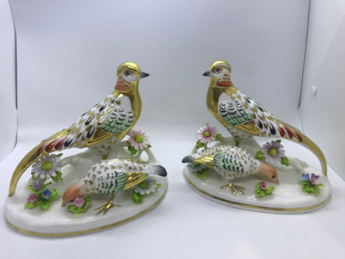 Pair Crown Staffordshire Golden Pheasant Porcelain Figurine England signed