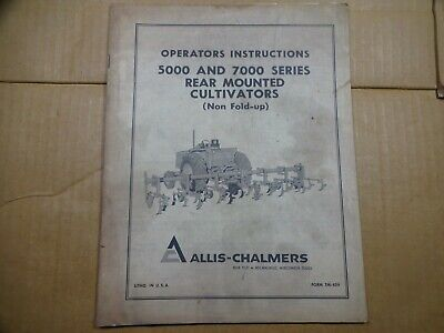 Allis Chalmers 5000 7000 Series Rear Mounted Cultivator Nonfold Operators Manual