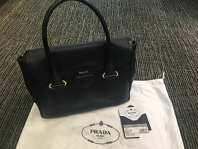"PRADA Black Saffiano ""Pattina"" Bag"
