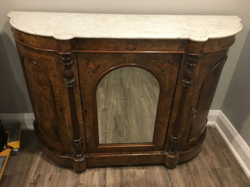 Description Beautiful Antique Liquor Cabinet Buffet With White Marble Top