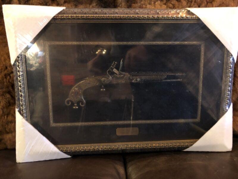 Vintage SCOTTISH FLINTLOCK 1760 PISTOL DISPLAY  Framed Under Glass #2086 Unopen