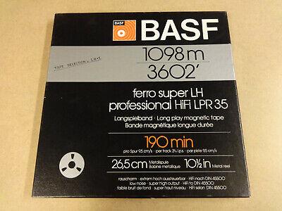"""10"""" (26,50 CM) METAL REEL TAPE BASF LPR35 IN ORIGINAL BOX"""