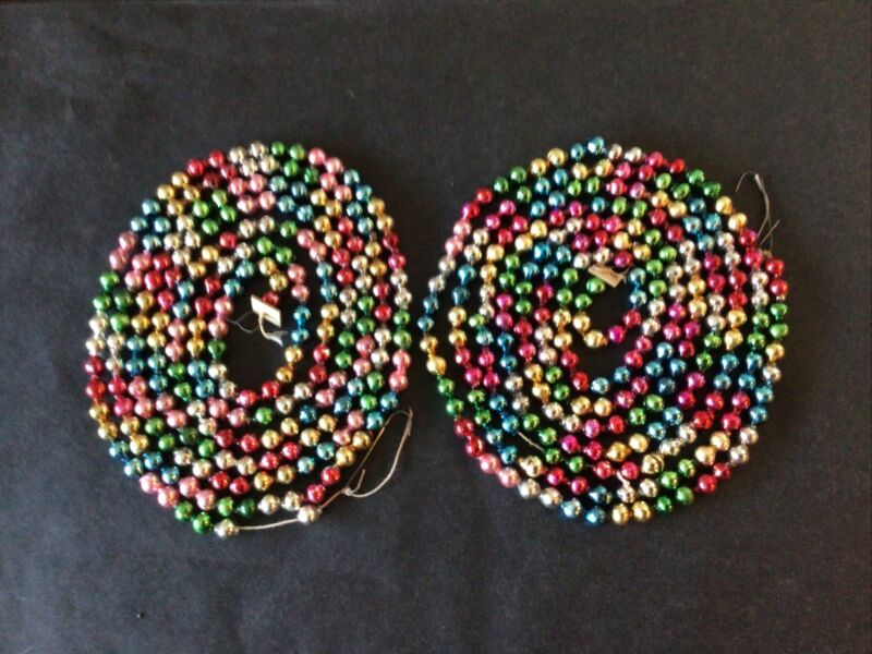 """12 FT. VTG MERCURY GLASS 1/4"""" MULTI-COLOR FEATHER TREE GARLAND CHRISTMAS JAPAN"""