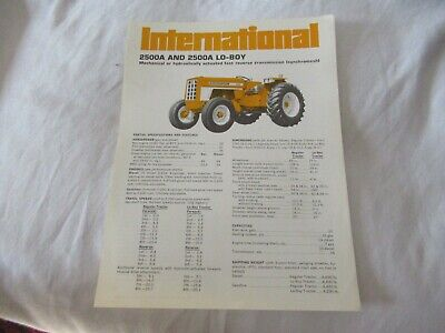 International 2500a Lo-boy Tractor Specification Sheet Brochure