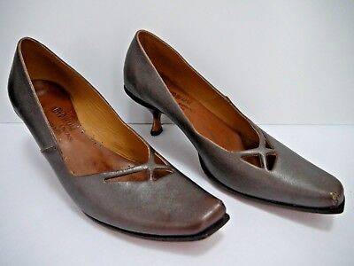NEW CYDWOQ VINTAGE bronze brown low heel pumps shoes size 40
