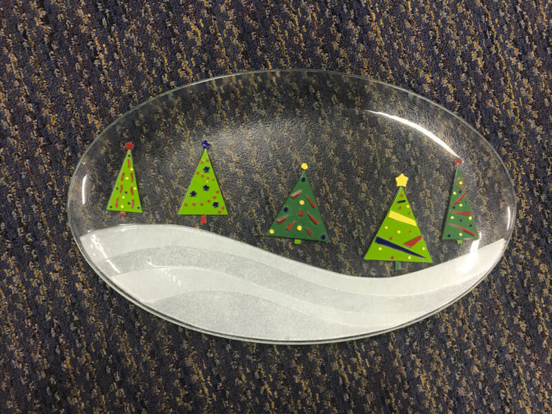 Gorham 18x11 Fused Art Glass Christmas Tree Party Plate Tray Platter