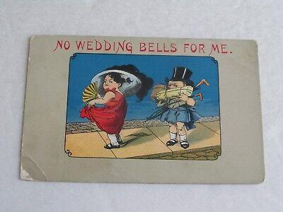 F439 postcard No Wedding Bells For Me Woman Carrying womans stuff fan cartoon - Stuff For Weddings