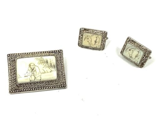 Chinese Export Silver Tone Filigree Etched Panel Brooch & Screwback Earrings Set