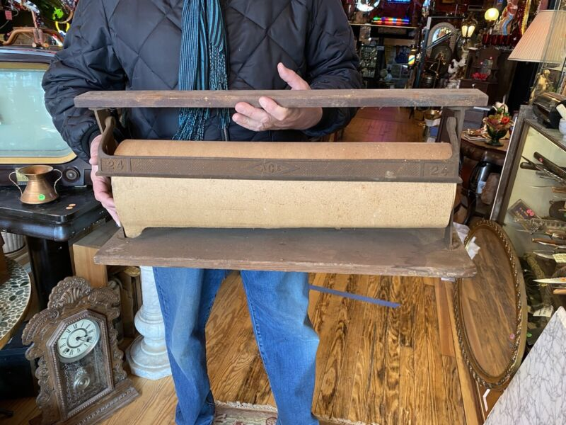 Antique COUNTRY STORE BUTCHER PAPER ROLL CUTTER  RACK HOLDER Dispenser