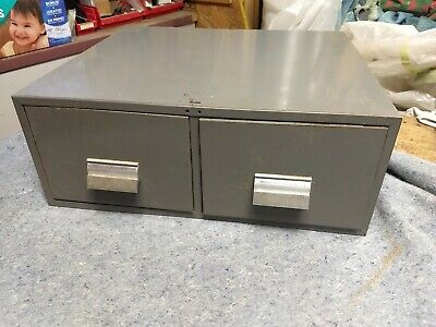 Vintage 2 Drawer Stackable Metal File Cabinet Card Cattilog Storage Industrial