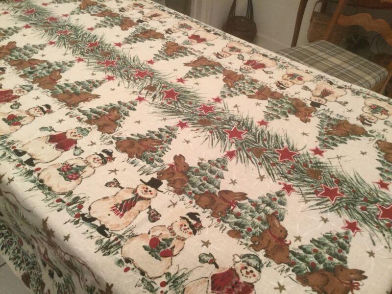 """56"""" x 76"""" Christmas Tablecloth Santa Reindeer Snowman Bunny Cardinal Looks New"""