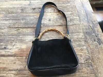 Vintage 90's Authentic GUCCI Black Suede Leather Bamboo Top Handle Shoulder Bag
