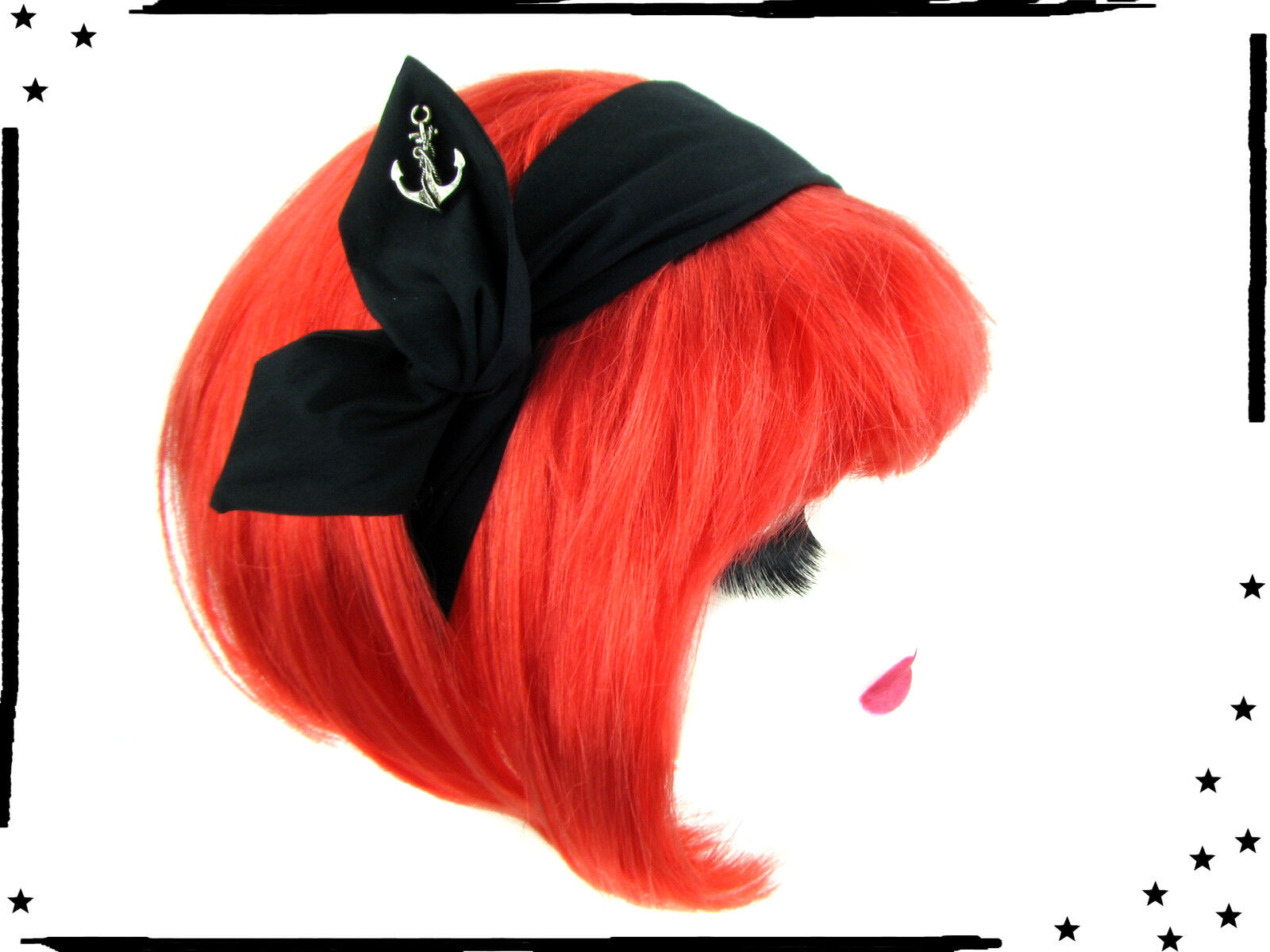 Draht Haarband uni schwarz mit Anker Rockabilly  Pin up Retro
