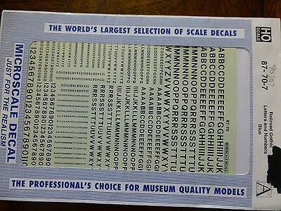 Microscale Decal #90107 Railroad Gothic Letters and Numbers - Blue - 1:87 Scale