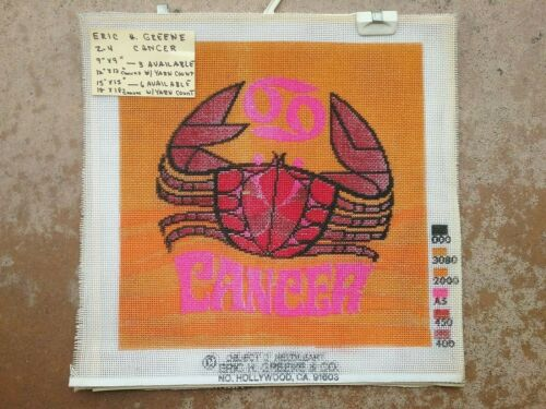 """Zodiac CANCER Vintage painted needlepoint canvas 15"""" by 15"""" square finished"""
