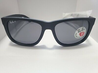 BRAND NEW Ray-Ban RB4165 Justin 622/2V Polarized Black Frame Blue (Ray Ban Justin Polarized Lenses)