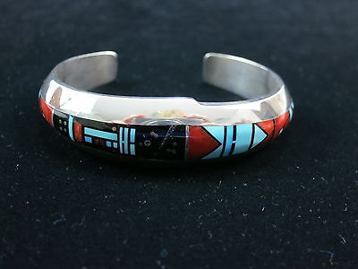 Sterling Silver Cuff with Multiple Inlay Stones Signed by Jim Harrison Navajo