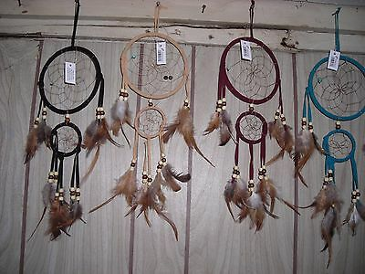 DREAM CATCHER  with feathers wall hanging decoration ornament-ASSORTED COLORS