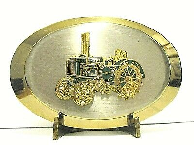 John Deere Two-Cylinder D Letter Series Tractor Belt Buckle Steel Wheel Styled