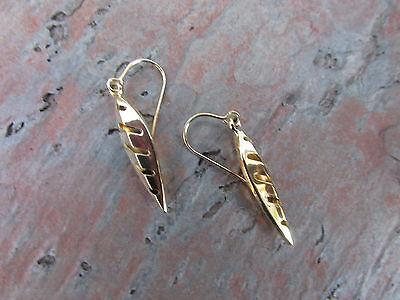 14 KT Yellow Gold Euro Wire w/ Teardrop Shiny & Cut Out Design Earrings NEW  Cut Euro Wire Earrings