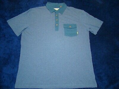 Howler Brothers Mens Cotton Short Sleeve Blue Pocket Polo Shirt Large