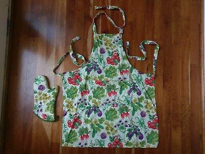 Vegetable Garden Veggie Pattern Apron Oven Mitt Matching Set Kitchen Chef (Chefs Apron Oven Mitt)