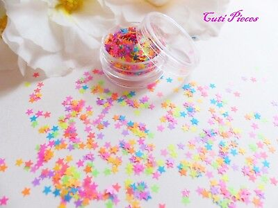 Nail Art *CraZy* Bright Neon Matt Chunky Stars Shape Glitter Spangle Mixed Pot