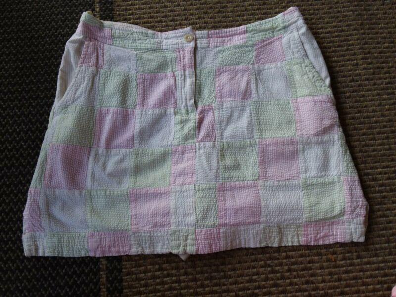 IZOD Women's Size 12 Golf Skort pink green tan block plaid