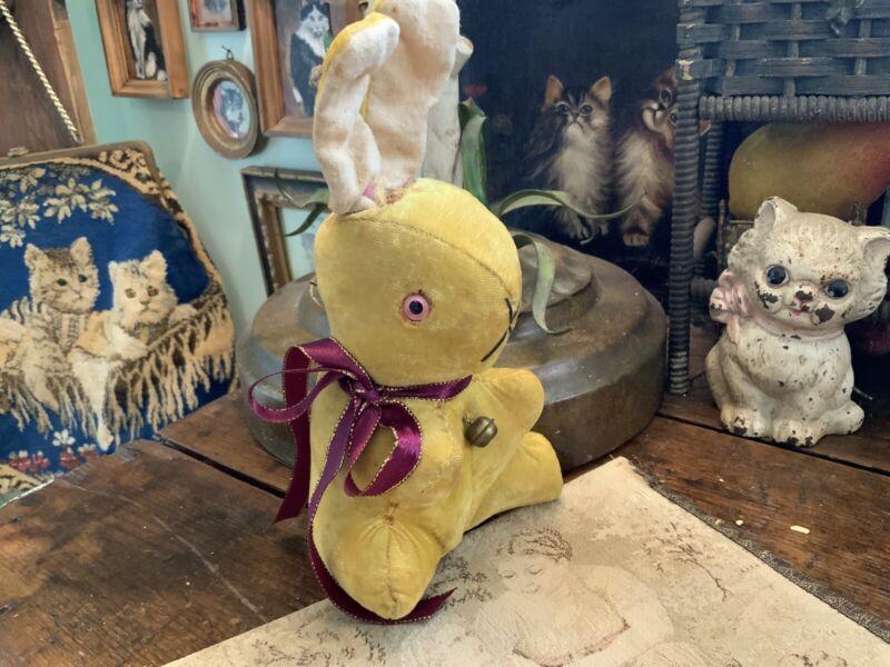 "Antique Vintage Made In Japan Stuffed Velvet Easter Bunny Rabbit 9"" Tall"