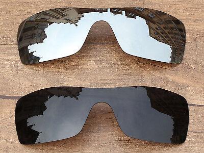PapaViva Black & Silver Chrome Polarized Replacement Lenses For-Oakley Batwolf