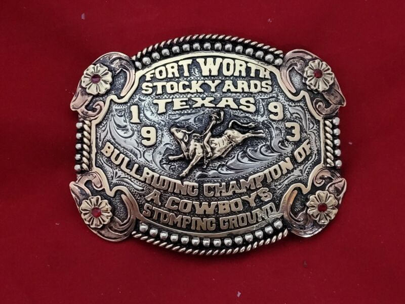 RODEO TROPHY CHAMPION BUCKLE☆1993☆FORT WORTH TEXAS BULL RIDING VINTAGE 563