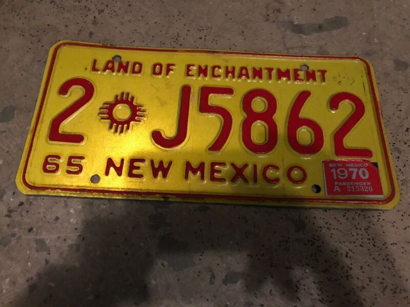 1965 New Mexico License Plate 2 J5862