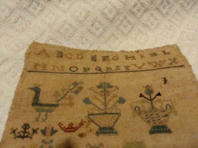 Antique needlework Sampler