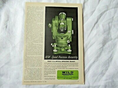 1960 Wild Heerbrugg T-1a Transit Theodolite Surveying Instrument Print Ad
