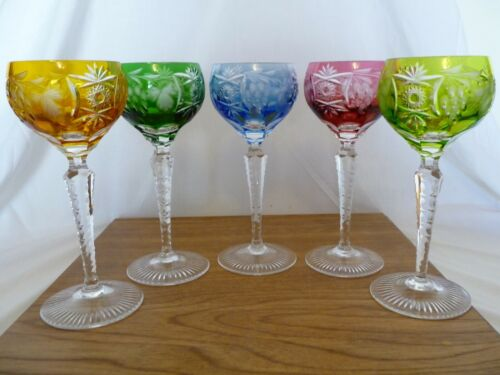 """Five Traube By Nachtmann Bohemian Crystal Wine Hock Goblets 6-7/8"""" Cut To Clear"""