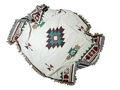 Southwestern Mexican Blanket with Soft Tassels 70x 50in Throw Blanket