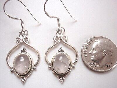 Rose Quartz Nicely Framed Ovals 925 Sterling Silver Dangle Earrings k119q Framed Quartz Earrings