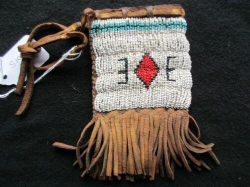 NATIVE AMERICAN BEADED LEATHER TOBACCO BAG, BEADED MEDICINE BAG,   SD-1021*05994